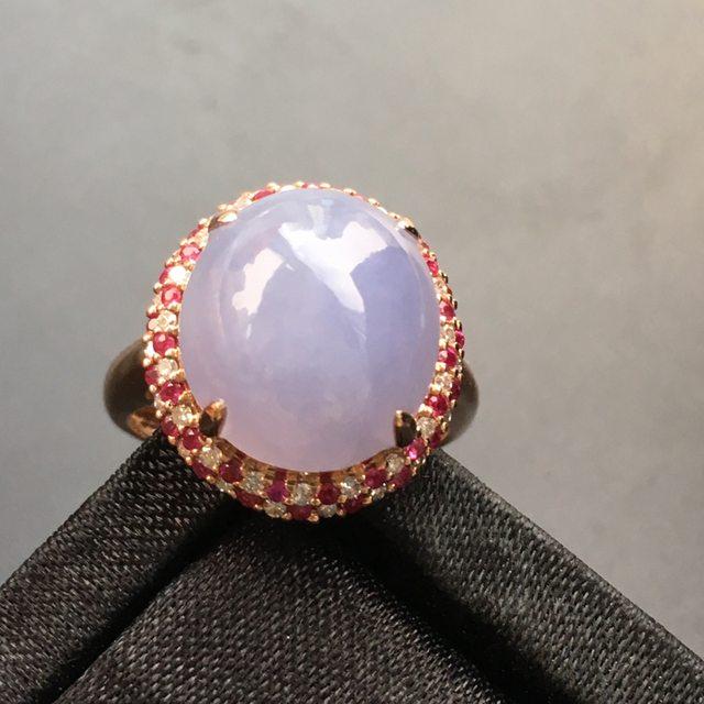 13.5*12.1*6.8寸浅紫蛋面翡翠戒指