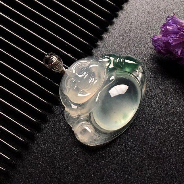 冰种飘花笑佛 翡翠吊坠 小巧 尺寸: 28.5-24-7.5mm