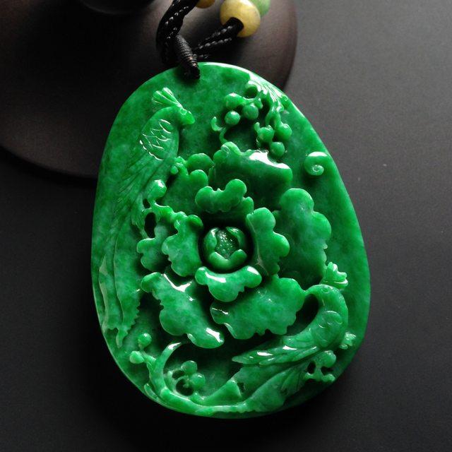 巧雕阳绿花开富贵 翡翠吊坠 尺寸58-44-9毫米