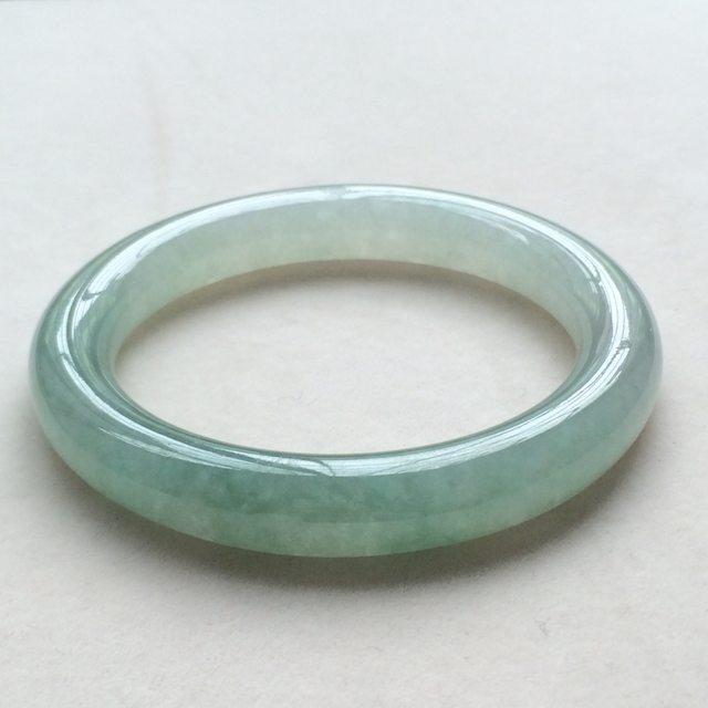 冰润浅绿翡翠手镯 缅甸天然翡翠圆条手镯  尺寸:55.8寸