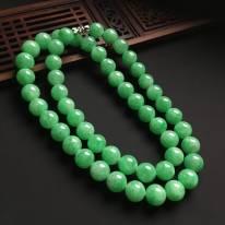 冰种满绿翡翠佛珠项链 直径10.5mm