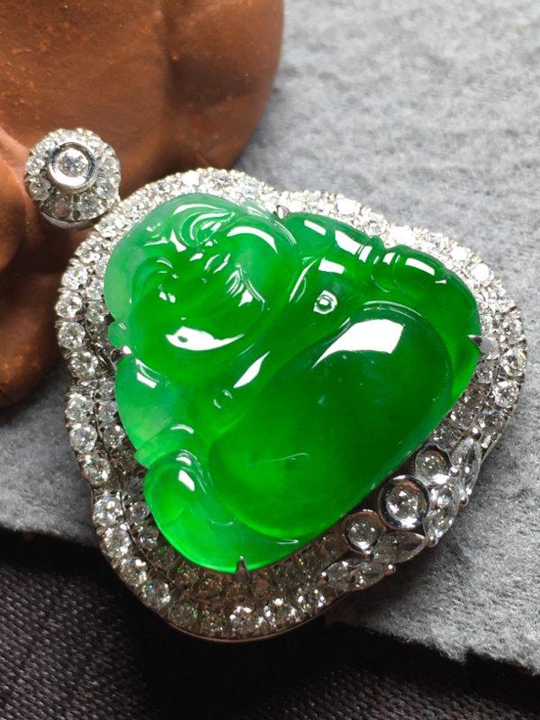 冰种阳绿翡翠吊坠 裸石尺寸18.8*20.6*4