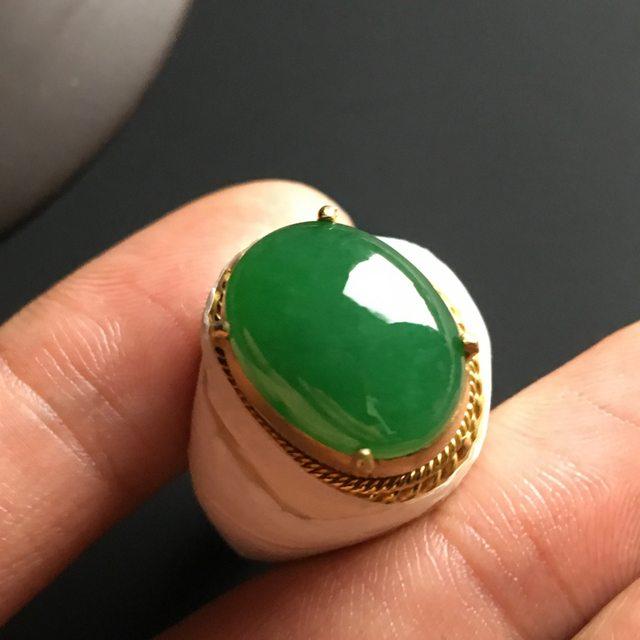 15-12-5毫米冰种满绿 翡翠戒指