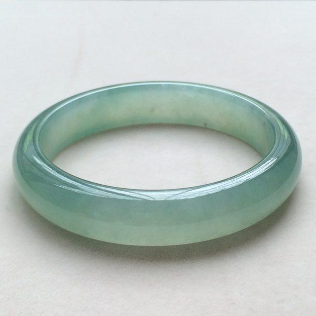 冰种湖绿翡翠手镯  缅甸天然翡翠正圈手镯  尺寸:56.9寸