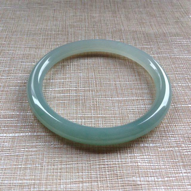 冰油天然翡翠圆条手镯 尺寸 56.7/7.1/7.4mm