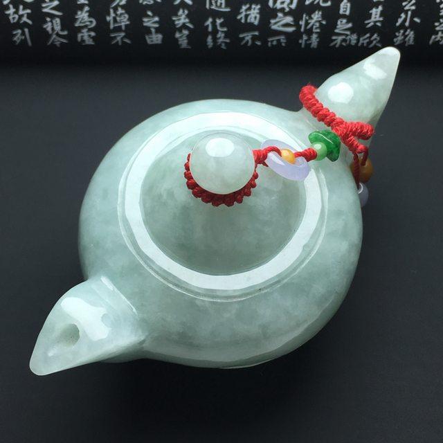 细糯种晴底茶壶翡翠小摆件