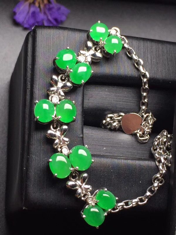 冰种阳绿蛋面翡翠手链完美真金真钻镶嵌