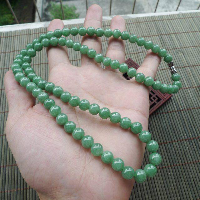 满绿圆珠翡翠项链取大7.8mm