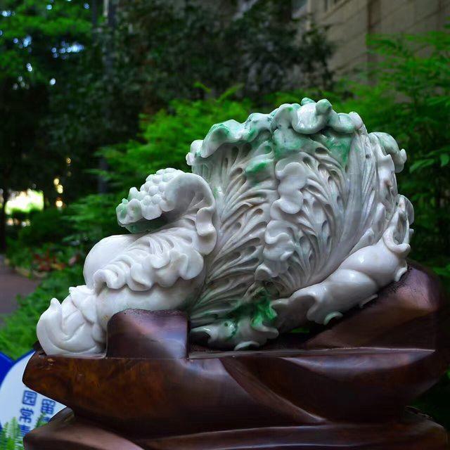 300*200*130寸飘阳绿白菜翡翠摆件