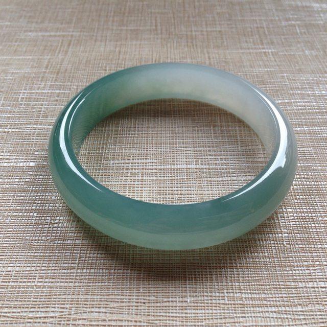 冰润蓝水翡翠手镯  天然翡翠平安镯 54.6-12.9-7.2mm