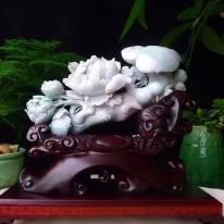 天然A货 老坑春彩翡翠 花开富贵如意摆件