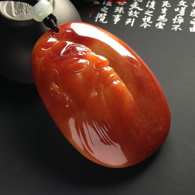 巧雕红翡关公翡翠吊坠  尺寸64-45-15毫米