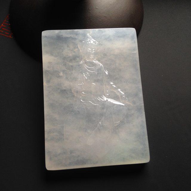 冰种荧光观音 翡翠吊坠 尺寸60-43-7毫米