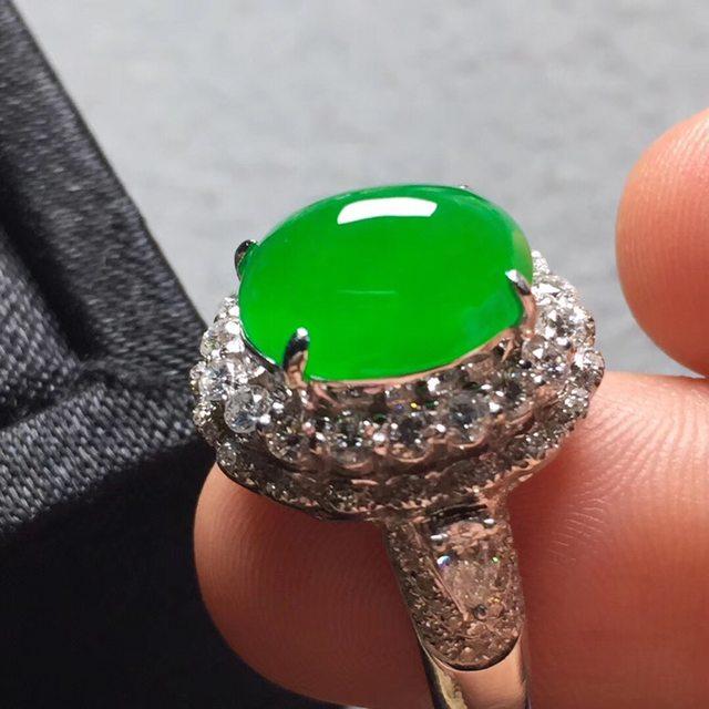10.8*9.5*6寸冰阳绿 缅甸天然翡翠戒指