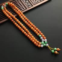 冰种红翡翡翠佛珠项链 直径7.2毫米