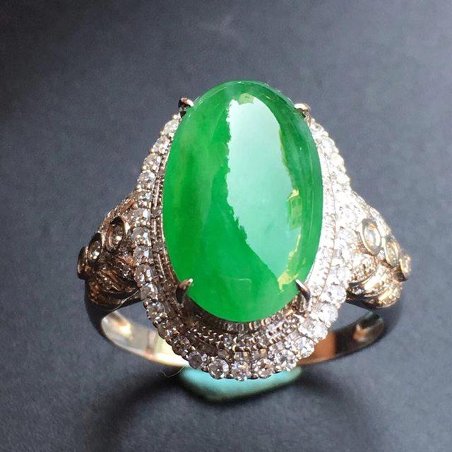 冰种阳绿 翡翠戒指大小14.7*8.6*5mm