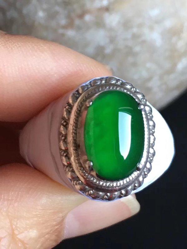 老坑冰种 帝王绿色 缅甸天然翡翠戒指