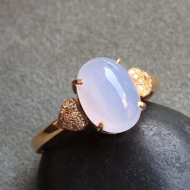 冰种紫罗兰 翡翠戒指 大小9.2*6.7*7.7mm