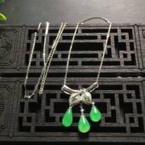冰阳绿 天然翡翠水滴项链23.8*15.0*3.7
