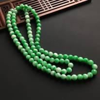 冰润飘绿佛珠翡翠项链 直径7.5mm