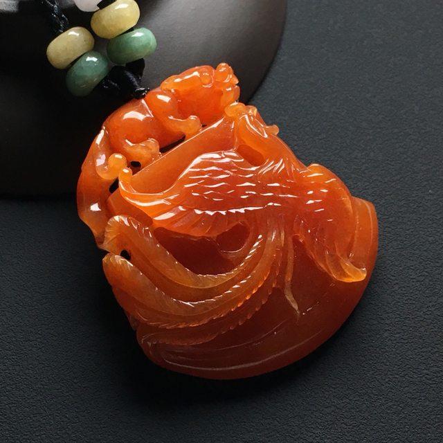 巧雕冰红 龙凤呈祥翡翠挂件 尺寸:46-41-12.8毫米
