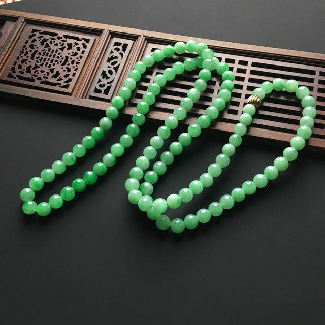 阳绿天然翡翠项链 直径7毫米图3