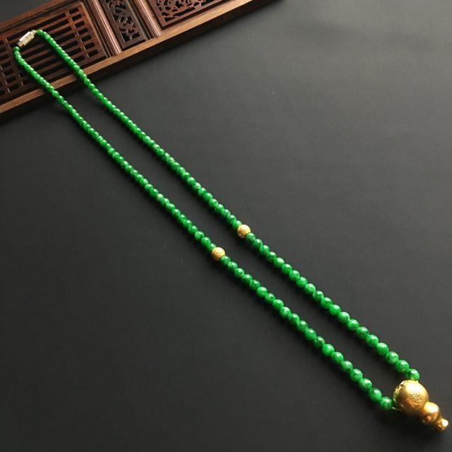 糯冰满绿佛珠翡翠项链 直径4毫米