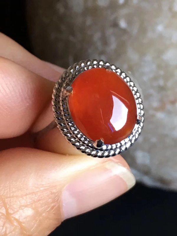 老坑冰种红翡 翡翠戒指11.8-10-3.6mm