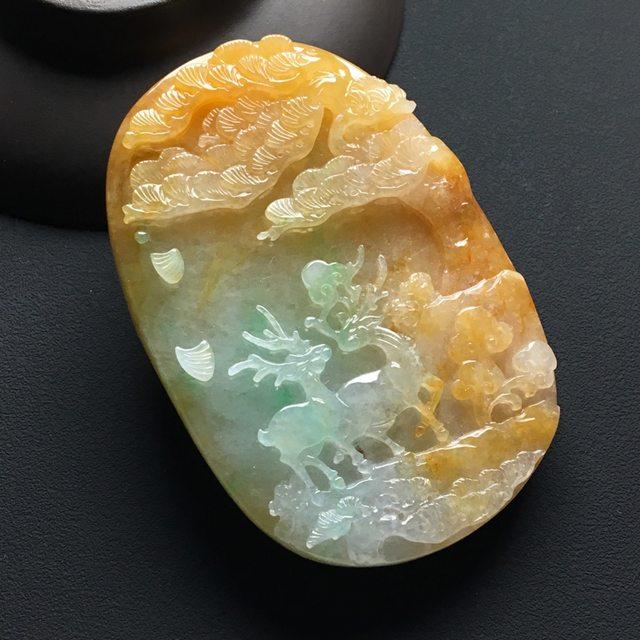 冰种黄加绿 福禄寿喜翡翠吊坠 尺寸:67-45-11毫米