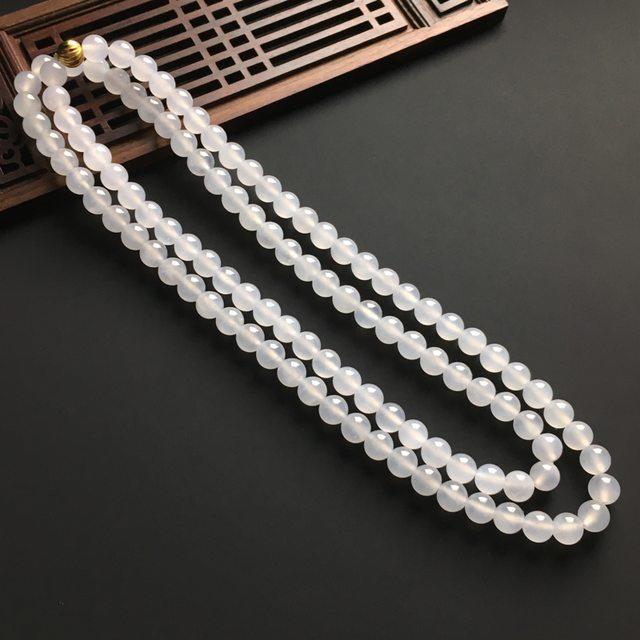 冰種晴水佛珠翡翠項鏈 直徑8毫米