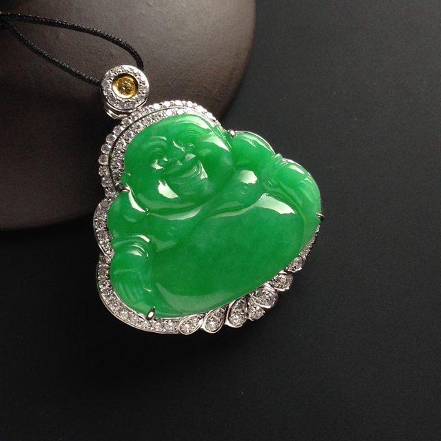 糯冰种阳绿 翡翠吊坠 裸石尺寸24-27-2.5毫米