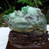 糯冰阳绿俏色 长寿龟翡翠原石摆件