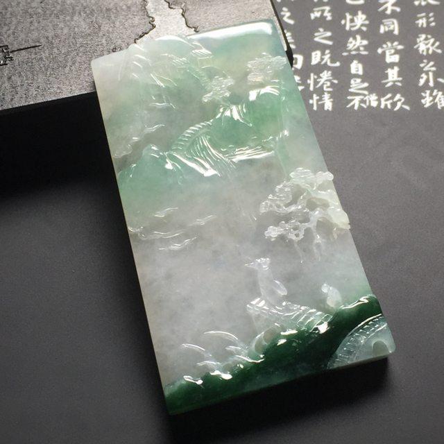 飘花高山流水 翡翠挂件 尺寸69.5-41-8毫米