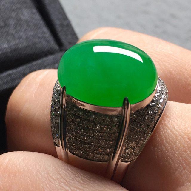 17*13*7寸冰阳绿 缅甸天然翡翠戒指