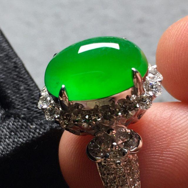 高冰正阳绿 缅甸天然翡翠戒指
