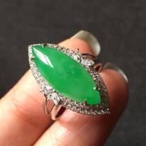 冰种水润正阳绿 缅甸天然翡翠戒指