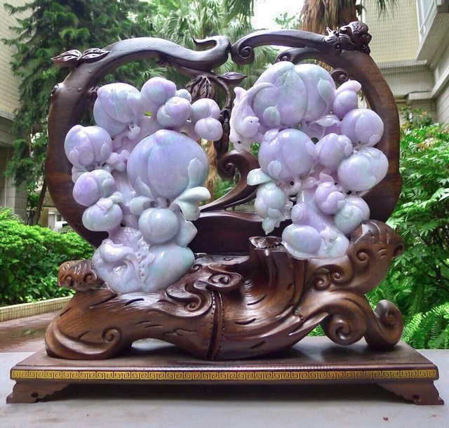 老坑糯种紫罗兰翡翠A货 寿桃大摆件