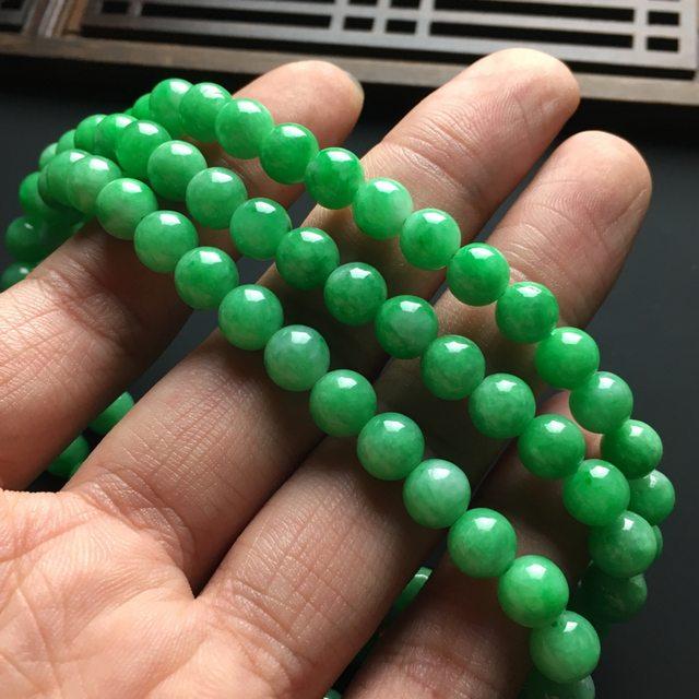 冰润阳绿天然翡翠项链 直径7毫米图6