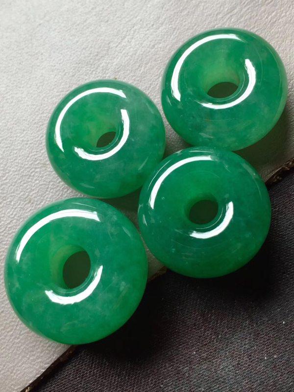 冰种满绿翡翠吊坠 平安扣翡翠吊坠