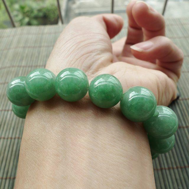 完美度高满色圆珠手串 珠大取13.2mm