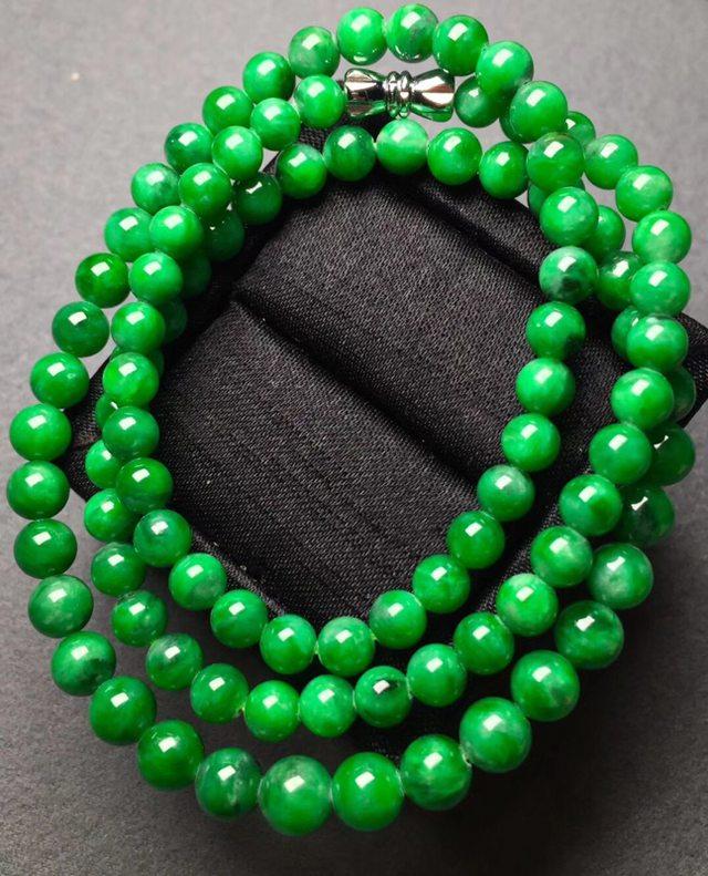 冰浓绿翡翠珠链5.2*7共96颗