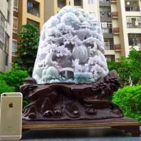 510.420.180寸冰糯春带彩超大山水翡翠摆件