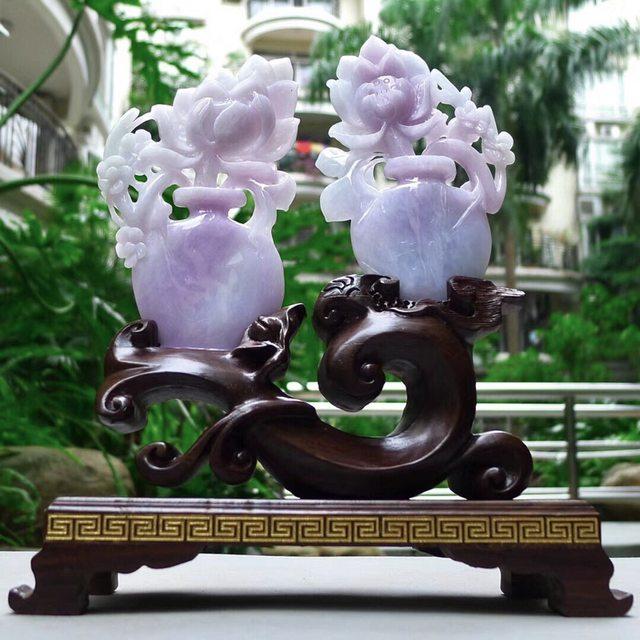 翡翠A货 老坑紫罗兰 花开富贵花瓶摆件