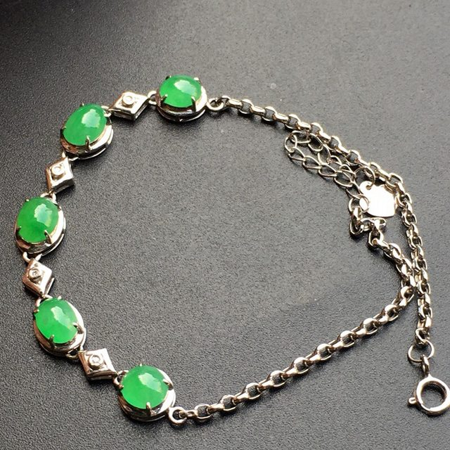 冰种阳绿 蛋面天然翡翠手链大小6.5*5*3mm