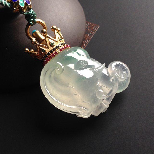 冰种飘翠 吉祥如意翡翠吊坠 18K金镶嵌 连金尺寸30-27-10毫米