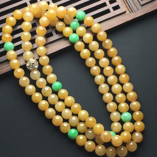 细糯种黄翡佛珠翡翠项链
