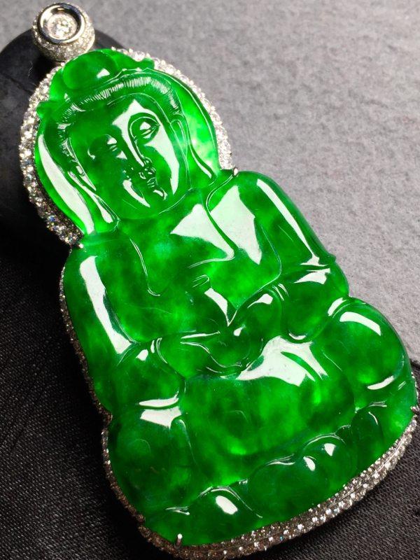 冰帝王绿观音 翡翠挂件 裸石尺寸66.6*40.5*4