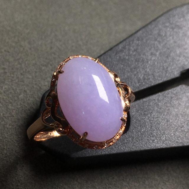 冰糯种紫罗兰 18K金伴钻镶嵌