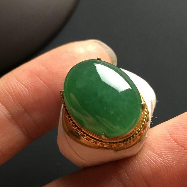 冰糯种深绿 缅甸天然翡翠戒指 17-13-5毫米