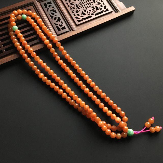 天然红翡佛珠项链 直径5.8毫米